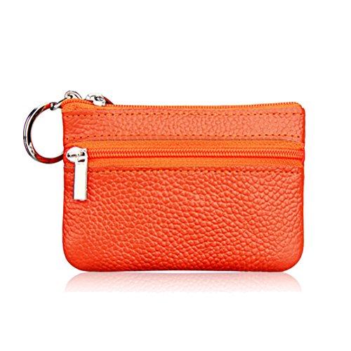 Share Hommes femmes en cuir véritable portefeuille porte-monnaie (Orange)