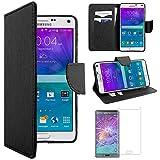 ebestStar - Cover Compatibile con Samsung Note 4 Galaxy N910F Custodia Portafoglio Pelle PU Protezione Libro Flip, Nero + Pellicola Vetro Temperato [Apparecchio: 153.5 x 78.6 x 8.5mm, 5.7'']