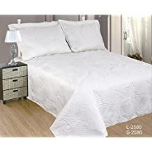 ForenTex- Colcha Boutí Cosida, (S-2580), cama 90 y 105 cm, 190 x 260 cm, Blanca, +1 cojín, colcha barata, set de cama, ropa de cama. Por cada 2 colchas o mantas paga solo un envío (o colcha y manta), descuento equivalente antes de finalizar la compra.