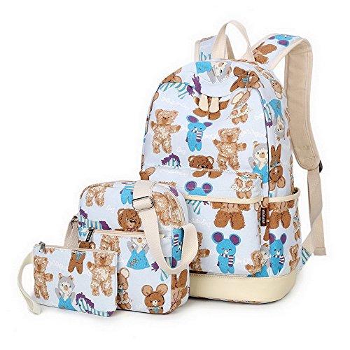 Acmebon Zaino stampato alla moda in tela, zaino scuola molto carino per ragazzi e ragazze, set 3 pezzi Orso blu chiaro 623