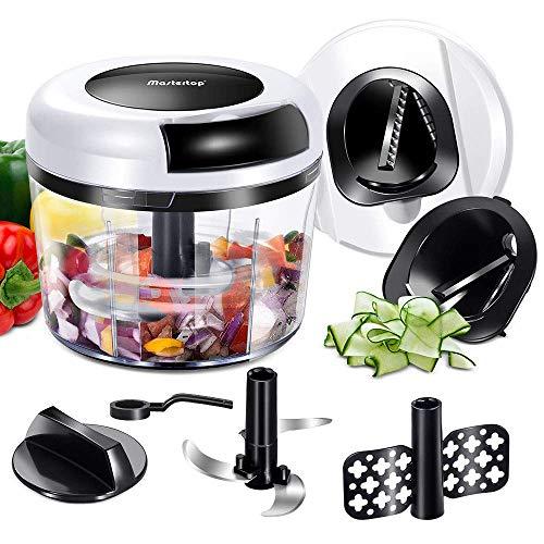 MASTERTOP Manueller Zerkleinerer mit Rotierter Klinge, Zwiebel Zerkleinerer von Obst, Gemüse, 2 Spiralschneider Multischneider mixer für schnellen Salsa, Pesto