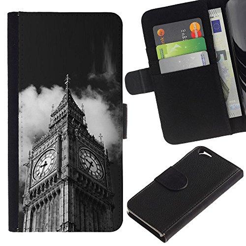 LeCase - Apple Iphone 6 4.7 - Architecture Big Ben Close Up London - U Cuoio Custodia Portafoglio Snello caso copertura Shell armatura Case Cover Wallet Credit Card
