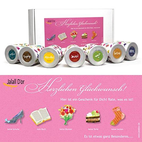 Geschenkbox für Frauen von Jalall D'or mit 7 Dosen | edles Geschenkset Frau mit PREMIUM Nüssen & Trockenfrüchten | Geburtstags-Geschenk Frauen | Geschenkbox Prüfung
