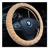 DUOMING Coperchi del Volante dell'automobile Indossare e Antiscivolo Accessori di Protezione Peluche Winter Warmth Coprivolanti (Colore : Beige)