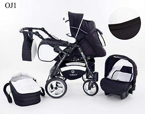 """Kinderwagen Babywagen Kombikinderwagen TriBeCe""""Sun"""" 3 in 1 Komplettset mit Zubehör 0-3 Jahre 0-15 kg Insektenschutz Netz Regenschutz Getränkehalter Buggy Autositz (OJ1)"""