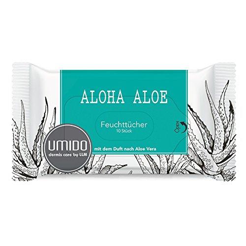 UMIDO Feuchttücher TO GO - 10 erfrischende Reinigungstücher im wiederverschließbaren Pack auch für unterwegs, Pflegetücher Kosmetiktücher Abschminktücher Hygienetücher mit dem Duft nach Aloe Vera, 1 x 10 Tücher