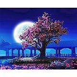 YMX DIY Family Cielo Nocturno Azul Melocotonero Bajo La Luna Pintura De Dibujo por Números Kits con Pinceles Pinturas para Adultos Niños 40X50Cm Sin Marco