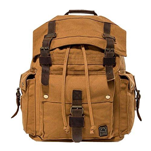 Jonon vintage canvas zaino per uomo in pelle zaino zaino 17 pollici laptop tote satchel scuola esercito militare spalla zaino borsa da trekking (marrone)