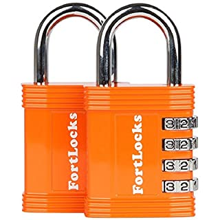 2 Pack FortLocks Combination Lock - 4 Digit Padlock for School & Gym Locker, Outdoor, Fence, Hasp, Storage, Case, Toolbox & Shed – Resettable All Weather Anti Rust Metal & Steel – Orange