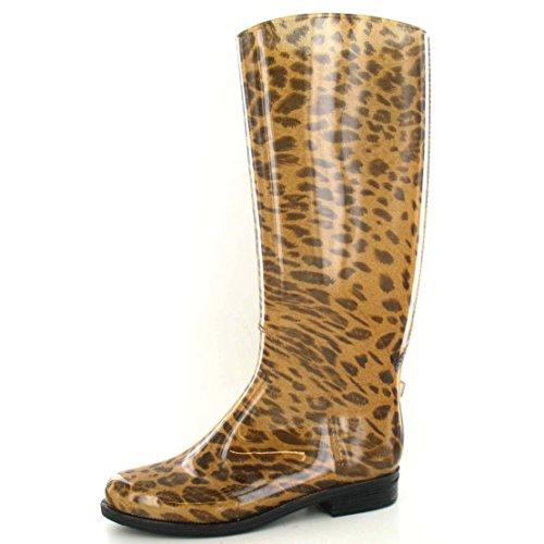 Spot On - Bottes de pluie à imprimé léopard - Femme Marron