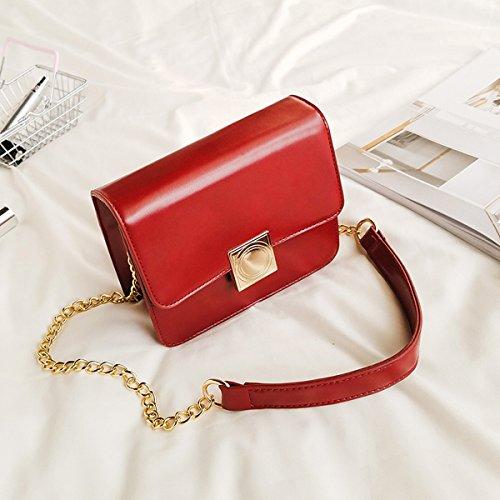 art und Weisebeutelfreizeitstrom kleines quadratisches paket einfaches Weibliches Schulterbeutel diagonales paket Rot