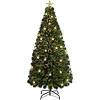 werchristmas pre lit fibre optic multi function christmas tree with tree topper green