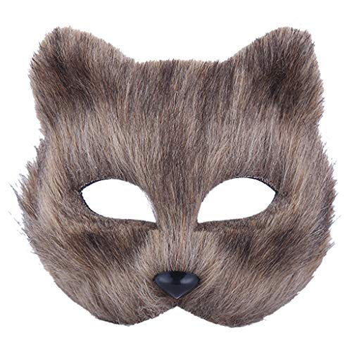 Kostüm Grey Fox Cosplay - lailongp Fox Form Maske halbe Gesichtsmaske, Cosplay Maske für Halloween Maskerade Party, Weihnachten Karneval Party Kostüm Prop, grau