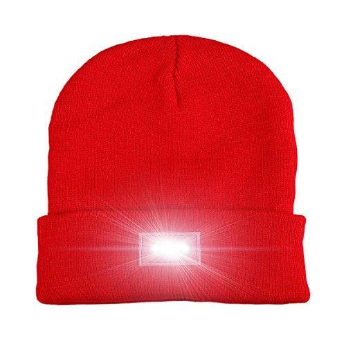 5 LED gestrickter Beanie-Hut, Hände frei LED Beanie Cap, Scheinwerfer-Hut, Taschenlampe Kappe, für Jagd, Camping, Grillen, Jogging, Laufen, Laufen, Radfahren oder Heimwerkerarbeiten (Red) Taschenlampe Scheinwerfer Scheinwerfer