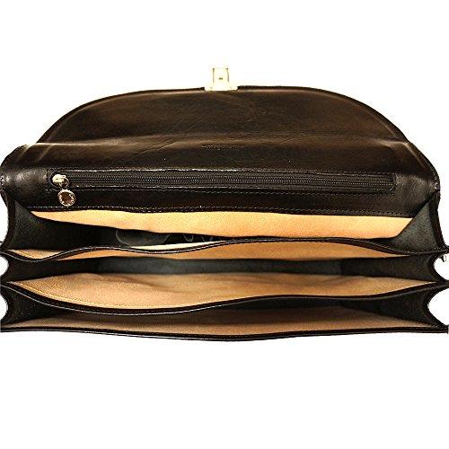 Cartable Porte-document Serviette bandoulière en cuir 3 compartiments 7603 Noir