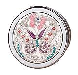 Weinlese-runder kompakter Spiegel-Handtaschen-Spiegel, Schmetterlings-Silber