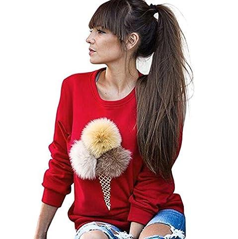 Sweatshirt Femme, LMMVP Cône Crème Imprimé Pull à Manches Longues