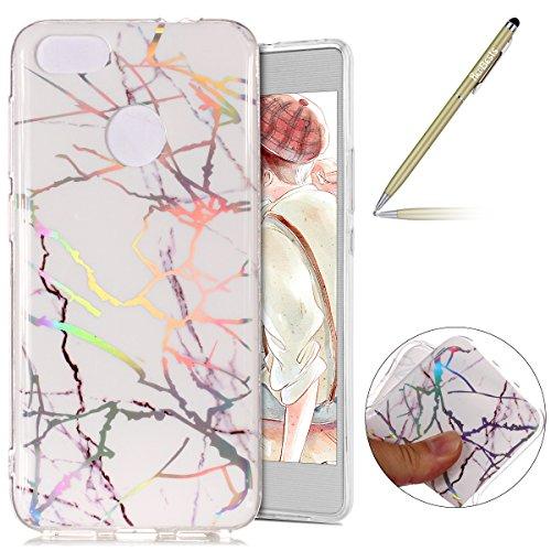 Kompatibel mit Handy Hülle Huawei P9 Lite Mini Schutzhülle Silikon Handytasche Marmor Muster Glänzend Glitzer Kristall Bling Transparent Durchsichtige Tasche TPU Bumper Case,Weiß