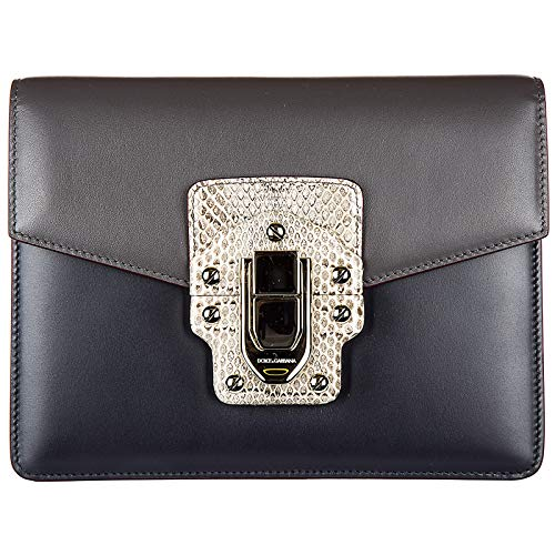 Dolce & Gabbana Schultertasche Leder Damen Tasche Umhängetasche Bag lucia Grau