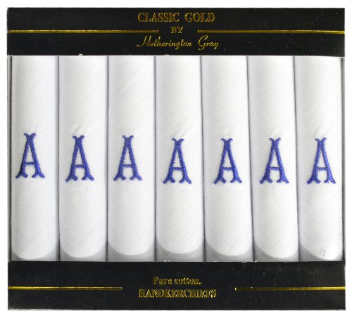 7 Pack Of Mens/Gentlemens White Satin Bordered Handkerchiefs With & Blue Embroidered Initials, Various Initials To Choose From