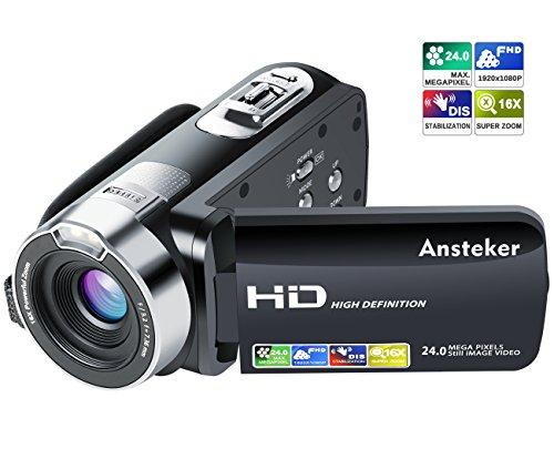 """Kamera Camcorder, Ansteker HD 1080P Videokamera 24MP 16X Digital-Zoom mit 2,7"""" LCD und 270 Grad Drehbarem Bildschirm"""