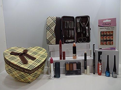 Luxe 10pc Make Up + 11pc de manucure Beauté Boîte cadeau Ensemble cadeau Mix marques ~ l'oréal - Cover Girl - Max Factor - Maybelline - Laval - Rimmel - Miss Sporty ~ Boîte cadeau