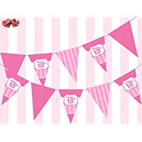 PARTY DECOR Perfect Pink Happy 13th Birthday Ornament Sing on Polka Dot and Vintage Pink and Fuchsia Pattern Themed Bunting Banner 12 flags 5Ft for guaranteed simply stylish Girl party decoration