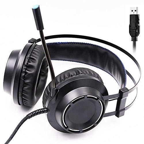 YUNYIN 7.1 Audio Gaming Headset für den PC! LED-Beleuchtung, Ergonomie, Stereo, Fernbedienung, Rauschunterdrückungsmikrofon, Subwoofer, USB-Buchse!-Longmic Circumaural Gaming-headset