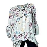 UFACE Damen Frauen Print Langarm Top Plus Größe V-Ausschnitt Blumendruck Langarm Bluse Pullover Tops Shirt(Grau,EU/54CN/5XL)