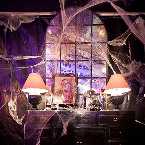 solawill Halloween Spinnennetz , 2 pcs Spinnweben mit 10 Spinnen Halloween Decoration  Dehnbare Spinngewebe für Halloween Decoration Party Karneval Deko - 3