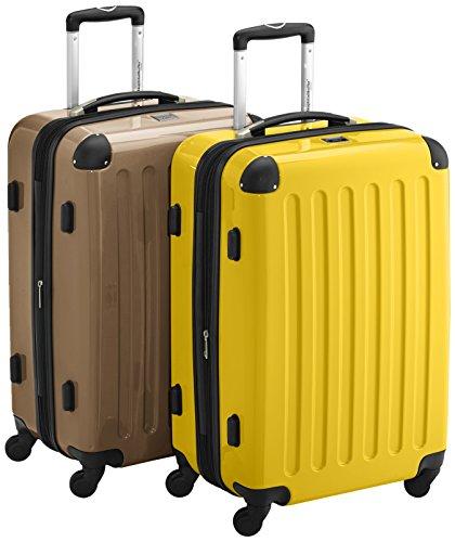 HAUPTSTADTKOFFER - Alex - 2er Koffer-Set Hartschale glänzend, TSA, 65 cm, 74 Liter, Aubergine-Silber Champagner-Gelb