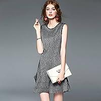 Good dress Vestido sin Mangas de Las Mujeres Delgadas Del Vestido de la Tela Escocesa Falda de Cola de Pescado , negro , s