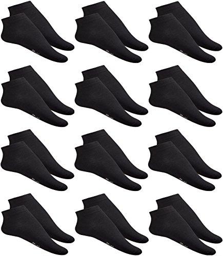 12 er Pack Basic Sneaker Socken für Herren, 35-46 Schwarz Sportsock en, Laufsocken Knöchelhoch, Söckchen (43-46)