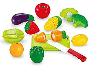 Sunshine Realistic Sliceable 12 Pcs Fruits and Vegetables Cutting Play Toy Set