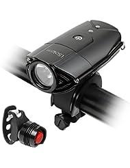 LED Fahrradbeleuchtung, iSolem wiederaufladbar Fahrradlicht Fahrradlampen Frontlicht & Rücklicht (300 Meter Leuchtkraft, 3 Licht Modi, IP65 Wasserdicht)