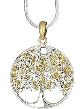 Anhänger Baum des Lebens Keltischer Bronze Schmuck – Heilung - mit 1,2mm Schlangenkette 45 cm Halskette aus 925er...