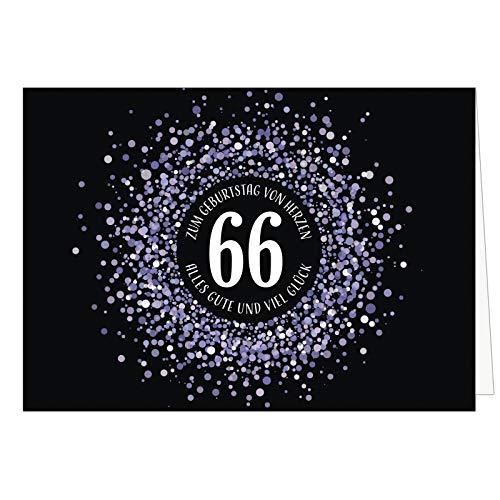 Große XXL (A4) Glückwunschkarte zum 66. Geburtstag - Konfetti Look Lila auf schwarz/mit Umschlag/Edle Design Klappkarte/Glückwunsch/Happy Birthday Geburtstagskarte/Extra Groß/Edle Maxi Gruß-Karte