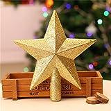 ILOVEDIY Weihnachtsbaumspitze Stern Glitzer Christbaumspitze Treetop Dekoration (Gold, 15cm)
