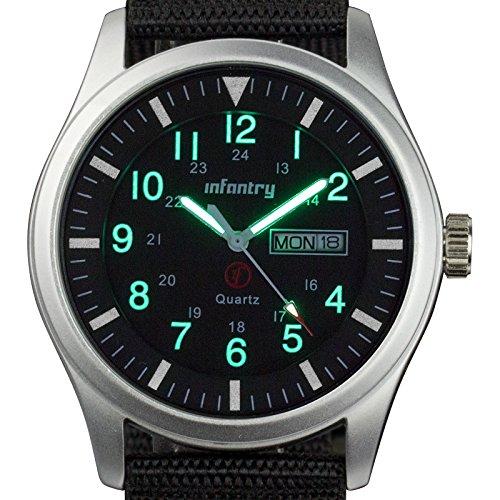 Infantry IN-044-S-N Herren Analoges Quarzwerk Armbanduhr Datum Tag 24 Stunden Sport Outdoor Schwarz Nylon Uhrenband