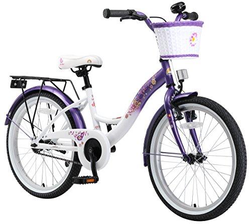 BIKESTAR Premium Sicherheits Kinderfahrrad 20 Zoll für Mädchen ab 6 - 7 Jahre ★ 20er Fahrrad für Kinder Classic Kinderrad ★ Lila & - Zoll Kinder Ständer Fahrrad 20