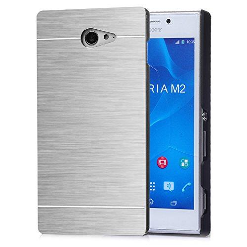 tinxi® Harte Schutzhülle für Sony Xperia M2 Hülle Rück Schale Cover Case Schutz aus gebürstetem Stahl mit silikon Rand sowie Innenschale Silber