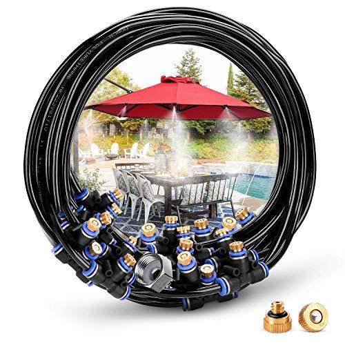 HAVIT Bewässerungssystem Outdoor Misting System Einstellbar Wasser Cooling Sprinkler-System mit Fein vernebeltes Wasser für Treibhaus Gärten, Schwimmbad, Laube (23 Meter)