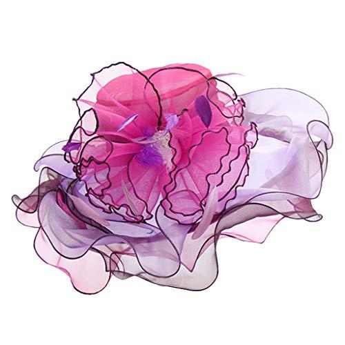 Beonzale Damen Elegant Derby-Fascinator-Kappen-Kentucky-Teeparty-Hochzeits-Hut der Frauen Blumen Netz Hut Feder Accessoires Hut für Mädchen (Lustig, Kentucky Derby Hüte)