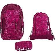 Satch Sac à dos d'écolier Set de 3accessoires avec Sleek Purple Leaves 9h3Purple Leaves