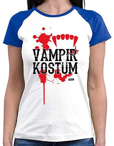 HARIZ  Damen Baseball Shirt Vampir Kostüm Karneval Kostüm Plus Geschenkkarten White/Royal Blue - White Tiger Kostüm Frauen