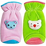 My NewBorn Kids Fabric Baby Feeding Bottle Covers with Attractive Cartoon, 240ml (Pink and Green)