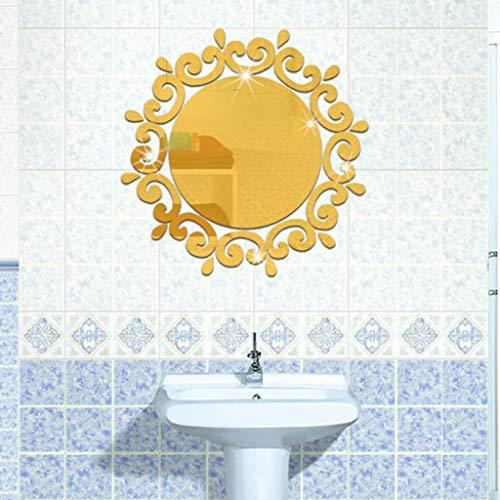 FGHTE WandaufkleberHeißer Moderne 3D Acryl Spiegel Wandaufkleber runde Muster wohnkultur Silber goldene entfernbare wandtattoos Art-in Wandaufkleber, Gold