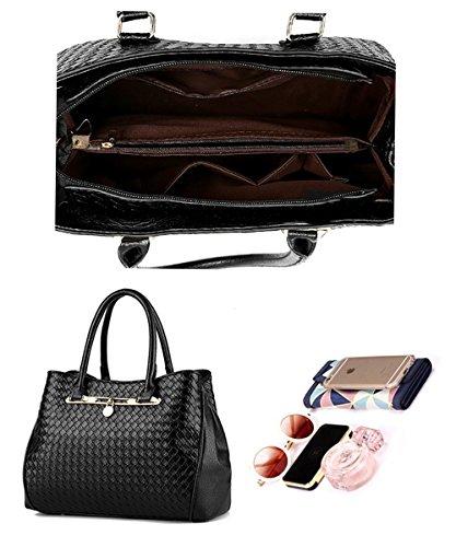 Tibes modo dellunità di elaborazione della borsa del cuoio + Shoulder Bag + Purse 3pcs Bag Nero B Blu profondo 2
