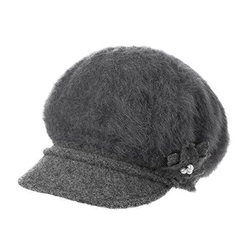 Béret de Angora féminines en automne et en hiver chapeaux de peintre élégant/Cap/ Cap octogonal ladies/Mme bouchon octogonale Gris
