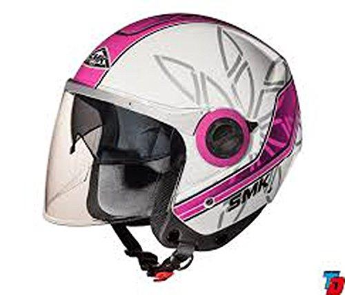 SMK Swing Open Face Dual Visor Graphic Desgner Helmet, ESSENCE GL192, White with Pink, L - 59 Cms, Clear Visor
